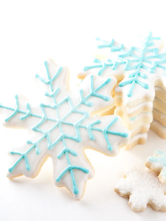 Royal Icing Sugar Cookies with Shimmering Blue Frosting